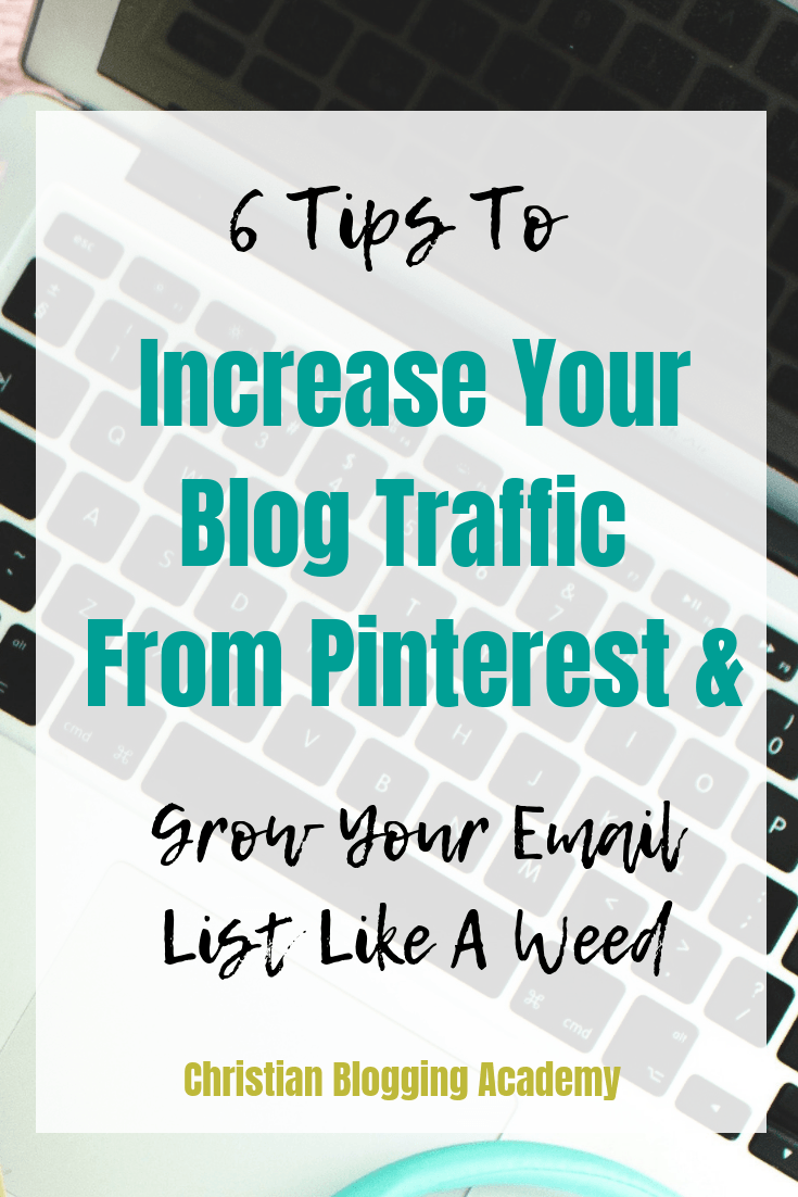 laptop keyboard with text overlay saying how to increase blog traffic using Pinterest