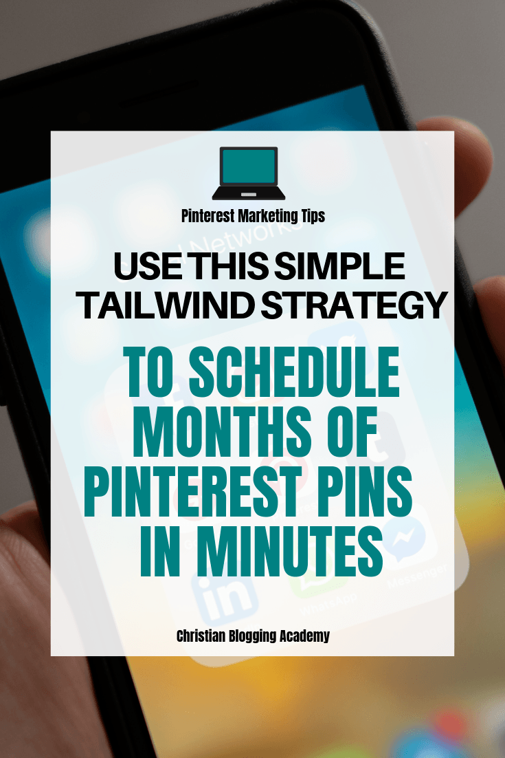 iphone with social media icons on it with a text overlay that says Use this simple tailwid strategy to schedule months of pinterest pins in minutes