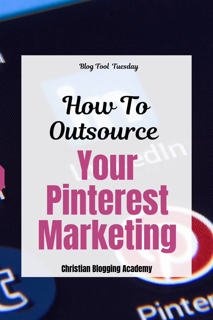 phone screen with a pinterest icon and a text overlay that says how to outsource your marketing on pinterest.