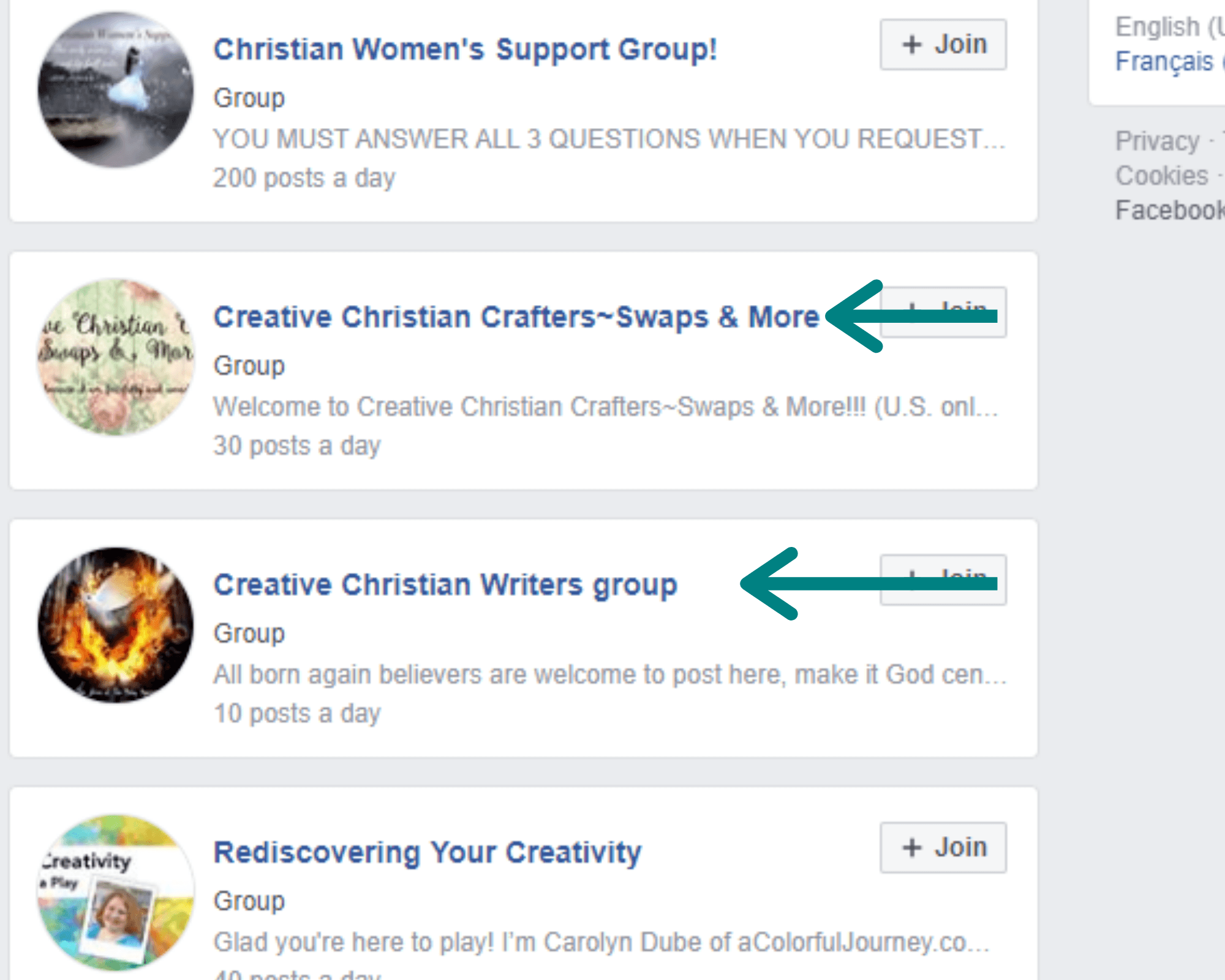 screen shot of facebook groups on creativity profitable blog niches