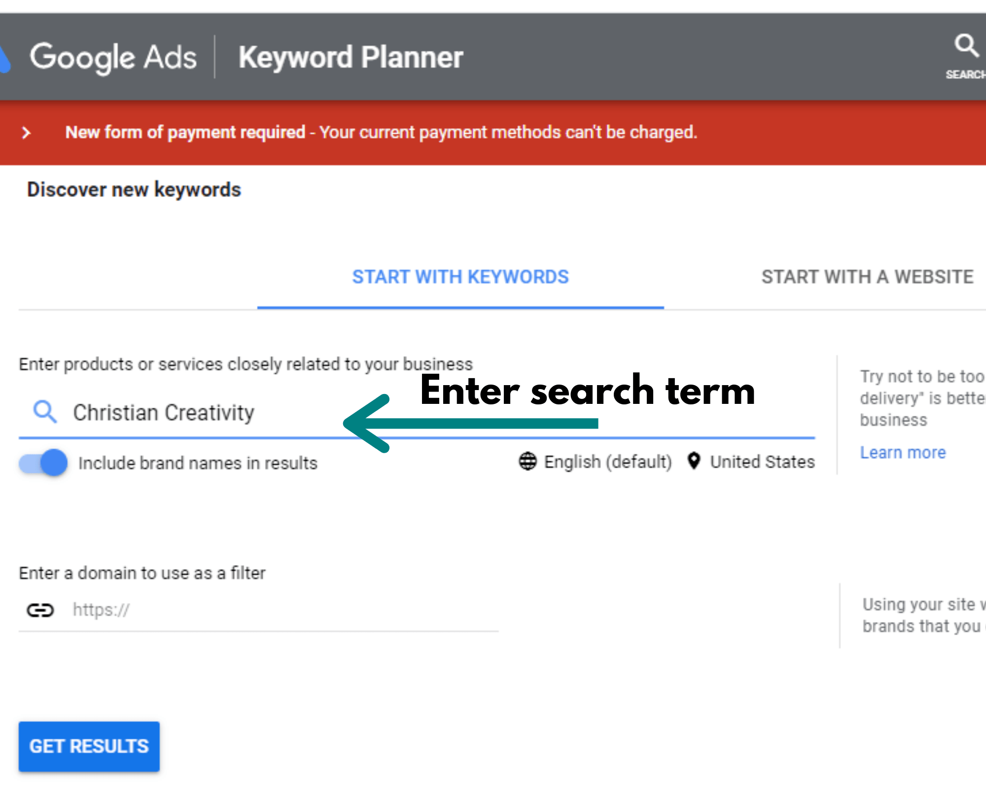 screen shot of how to search on google keyword planner blog niches that are profitable
