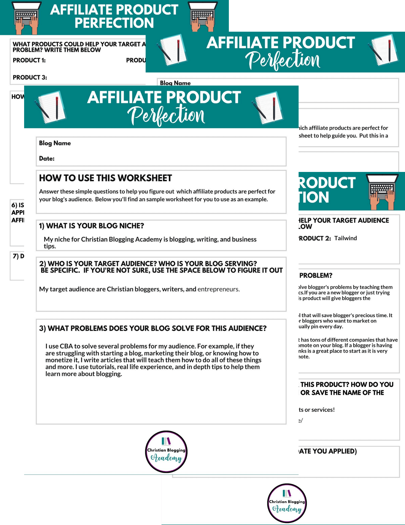 affiliate product worksheet for beginners