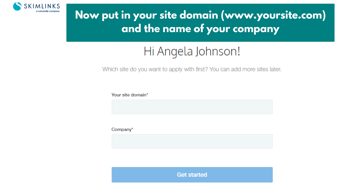 another step in the process of signing up for the skimlinks affiliate network