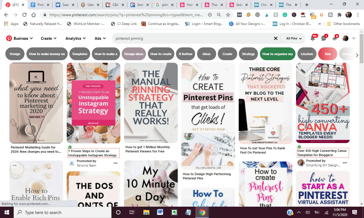 screenshot of pinterest showing how to pin on pinterest in 2020